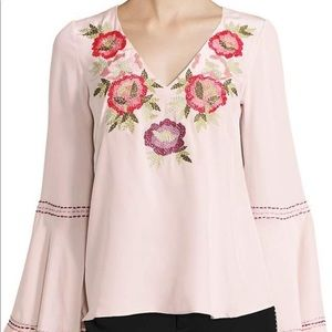 Nanette Lepore embroidered v neck top